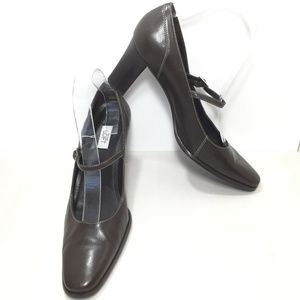 Ann Taylor Loft Brown Leather Mary Jane Pumps